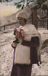 Woman in the Winter with Flowers Postcard