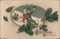 Christmas Greetings -- Two Children on Sled Postcard