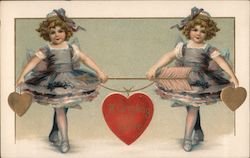 A Greeting of Love -- Two Girls Holding Arrow and Hearts Postcard