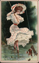 Fishing is enjoyed by both sexes. Postcard