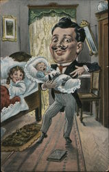 Caricature of a Man tending to a Baby Postcard