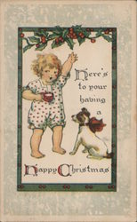 Here's to Your Having a Happy Christmas -- Child with Dog Postcard