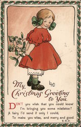 My Christmas Greeting To You Don't You Wish That You Could Know, I'm Bringing You Some Mistletoe? Postcard