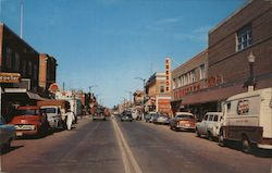 A view of one of the main streets in the progressive city of Red Deer, Alberta Postcard