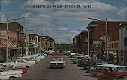 Greetings from Spooner, Wisc Postcard