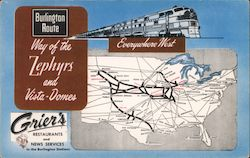 Grier's Restaurants and News Services in the Burlington Stations Postcard