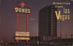Dunes Hotel at Night Postcard