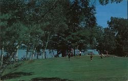 The Sebago-Long Lake Region on the fourth green at the Naples Golf Club on Brandy Pond Postcard