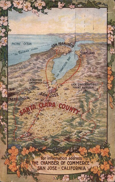 Topographical Map of Santa Clara County, Chamber of Commerce San Jose California