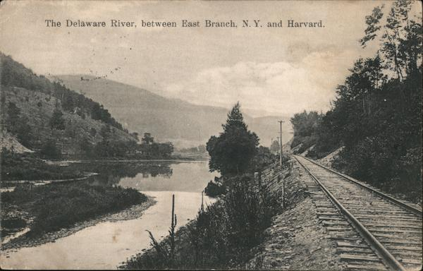 Delaware River and Railroad Tracks, between East Branch and Harvard New York