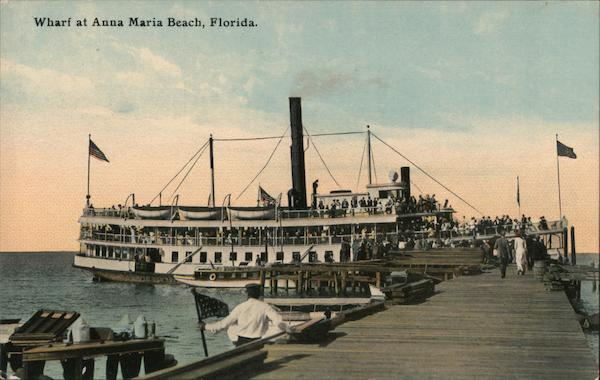 Steamer Landing at Wharf, 650 People on a Day's Outing at the Beach Anna Maria Florida