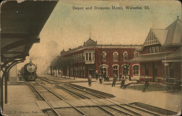 Depot and Iroquois Hotel Watseka Illinois