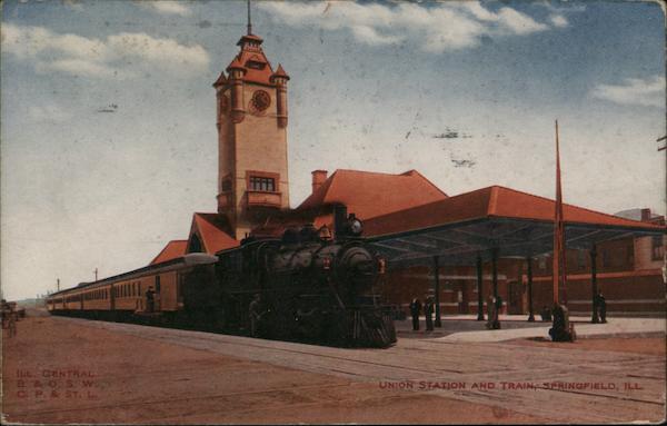Union Station and Train Springfield Illinois