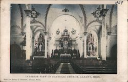 Interior View of Catholic Church Postcard