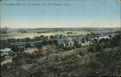 Birdseye View of La Fayette and Wabash River Postcard