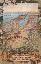 Topographical Map of Santa Clara County, Chamber of Commerce Postcard