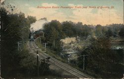 Burlington Route Passenger Train Just North of Quincy Postcard