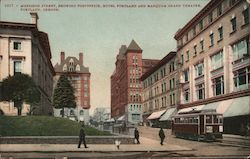 Morrison Street, Showing Post Office, Hotel Portland and Marquam Grand Theatre Postcard