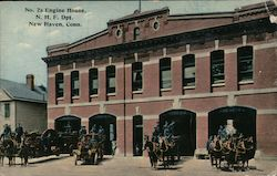 No. 2's Engine House, N.H.F. Dpt. Postcard