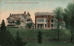 Danbury's Old and New Hospital Postcard