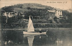 Boy in a Boat with Sail on the River Postcard