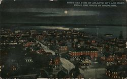 Bird's Eye View of Atlantic City and Inlet from Light House by Moonlight Postcard