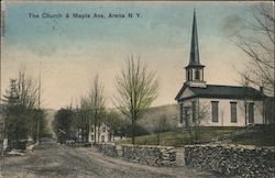 The Church & Maple Ave. Postcard