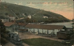 Railroad Station and Steamboat Landing Postcard
