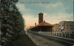 Chicago & North Western Railroad Depot Postcard