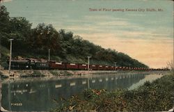 Train of Flour Passing Kansas City Bluffs Postcard