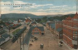 B. & M.R.R. Station and Car Shops Postcard