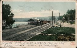 Railway Station, Weirs Lake Postcard