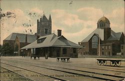 D. & H. Station, St. John's Church and Baptist Church Postcard