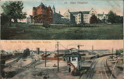 State Hospital and Santa Fe Shops Postcard