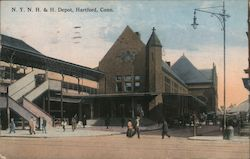 New York, New Haven and Hartford Railroad Depot Postcard