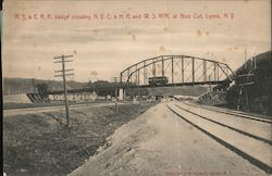 R.S. & E.R.R. Bridge Crossing N.Y.C. & H.R. and W.S.R.R. at Blue Cut Postcard