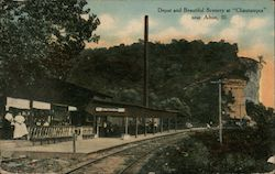 "Depot and Beautiful Scenery at ""Chautauqua"" near Alton, Ill. Postcard"