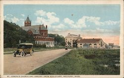 St. Joseph's Church and Armory from Boulevard Postcard