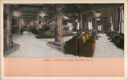 Lobby at the Lafayette Hotel Postcard