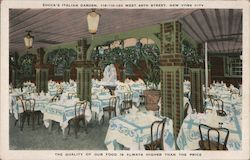 Zucca's Italian Garden, West 49th Street Postcard