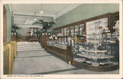 Lobby of The Allen Hotel Postcard