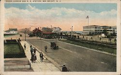 Ocean Avenue and Railroad Station Postcard