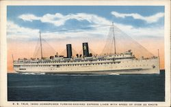 S.S. Yale, 12000 Horsepower Turbine-engined Express Liner with Speed of Over 22 Knots Postcard
