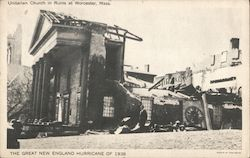 Unitarian Church in Ruins - Great New England Hurricane of 1938 Postcard