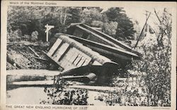 Wreck of the Montreal Express - Great New England Hurricane 1938 Postcard