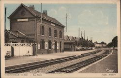 Train Station Postcard