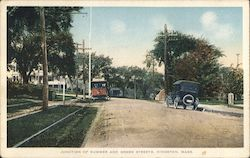Junction of Summer and Green Streets - Street Car, Automobile Postcard