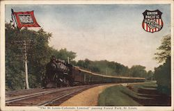 """The St. Louis-Colorado Limited"" Passing Forest Park Postcard"