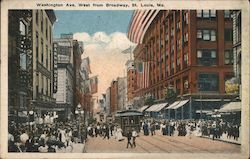 Washington Ave. West from Broadway Postcard