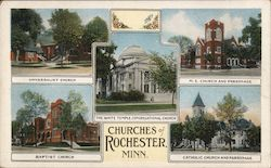 Churches of Rochester Postcard